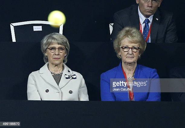 The Duchess of Gloucester and President of LTA Cathie Sabin attend the victory of Andy Murray of Great Britain over David Goffin of Belgium during...