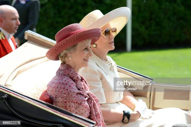 The Duchess of Gloucester and Princess Michael of Kent arrive in the Royal Procession on day 2 of Royal Ascot at Ascot Racecourse on June 21 2017 in...