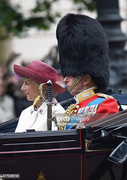 The Duchess of Gloucester and the Duke of Kent attend the Trooping the Colour Ceremony on June 13 2015 in London England