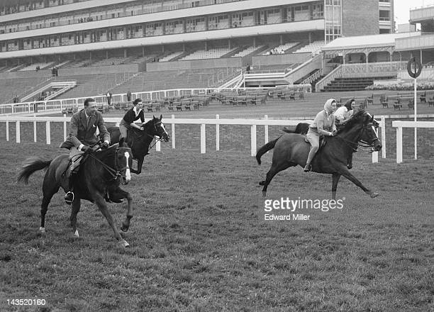 The Duchess of Gloucester, Princess Alexandra of Kent and friends take part in a 5-furlong Royal sprint on the course at Ascot, 16th June 1961. Queen...