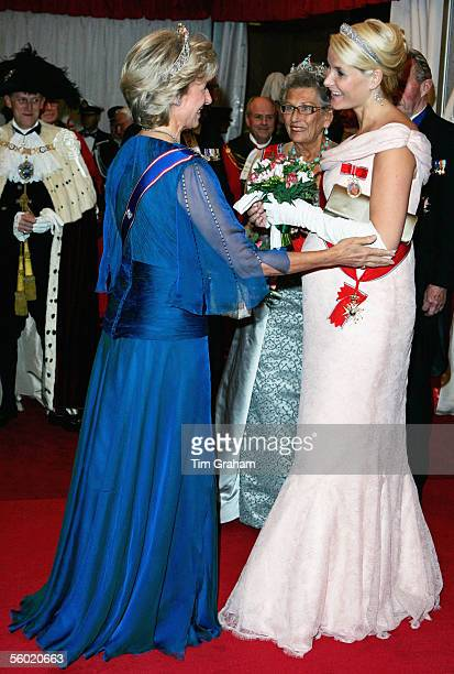 The Duchess of Gloucester welcomes Crown Princess MetteMarit of Norway pregnant and expecting a baby very soon and Princess Astrid of Norway to a...