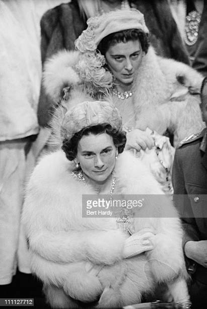 The Duchess of Kent (1906 - 1968 and the Duchess of Gloucester at Westminster Abbey, London, for the wedding of Princess Elizabeth and Prince Philip,...