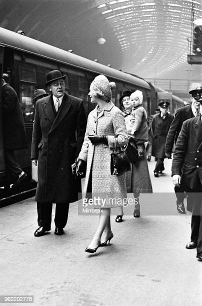 HRH The Duchess of Kent and her son George Windsor Earl of St Andrews boarding a train at York Station to Kings Cross The Duchess is expecting her...
