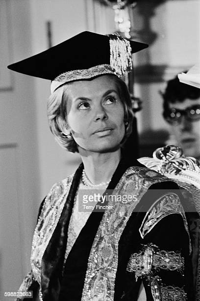 The Duchess of Kent dressed in academic robes in her role as the Chancellor of Leeds University, Leeds, UK, 25th October 1967. She is attending a...