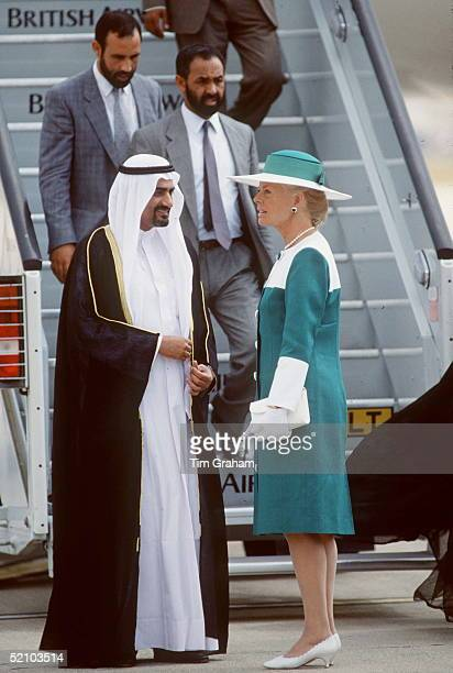 The Duchess Of Kent Meeting Sheikh Hamadof Pujaira At Heathrow Airport At The Start Of His State Visit