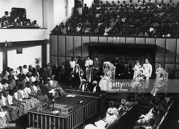 The Duchess of Kent reads a speech from the British Queen in the National Assembly Ghana granting Independence to the Gold Coast
