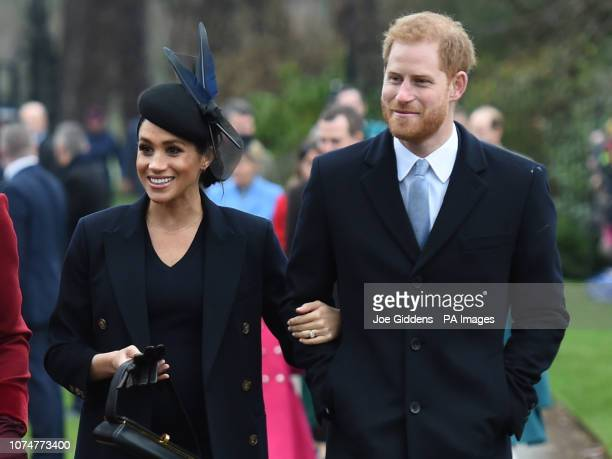 The Duchess of Sussex and the Duke of Sussex arriving to attend the Christmas Day morning church service at St Mary Magdalene Church in Sandringham...