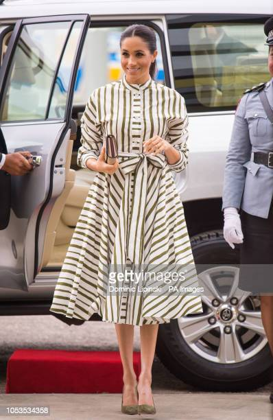 The Duchess of Sussex arrives to view an exhibition of Tongan handicrafts at the Fa'onelua Convention Centre, in Nuku'Alofa, Tonga, on day two of the...