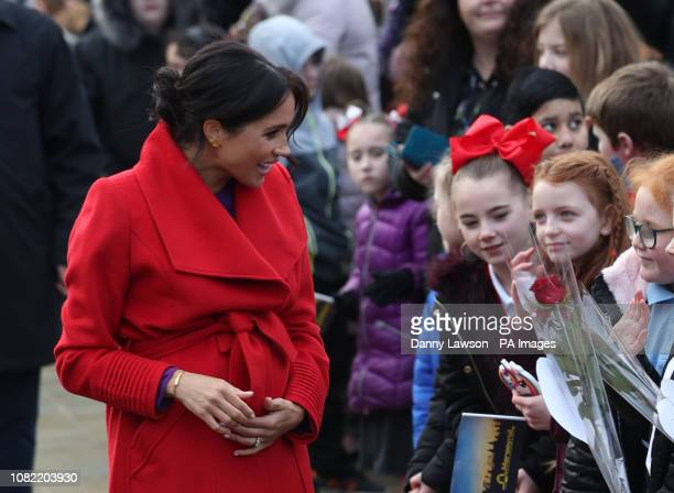 The Duchess of Sussex during a walkabout of Hamilton Square in Birkenhead as part of a visit to a new sculpture marking the 100th anniversary of war...
