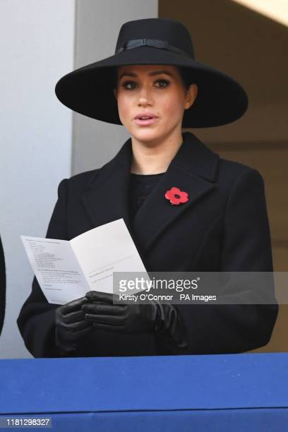 The Duchess of Sussex during the Remembrance Sunday service at the Cenotaph memorial in Whitehall central London