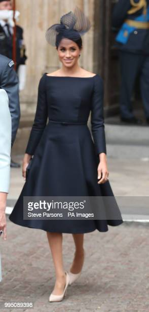 The Duchess of Sussex leaves a service at Westminster Abbey London to mark the centenary of the Royal Air Force