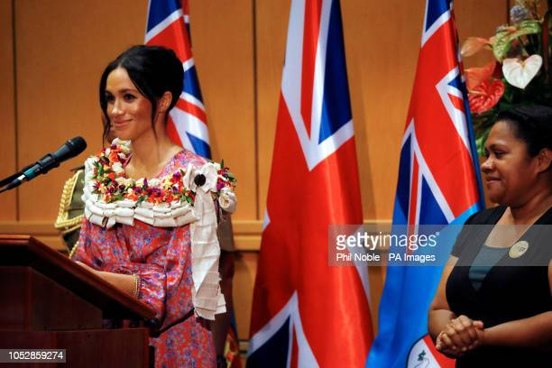 The Duchess of Sussex makes a speech during a visit to the University of the South Pacific in Suva Fiji on day two of the royal couple's visit to Fiji