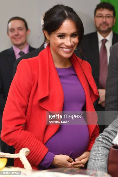 The Duchess of Sussex smiles as the Duke and Duchess of Sussex officially open Number 7 a Feeding Birkenhead citizens supermarket and community cafe...