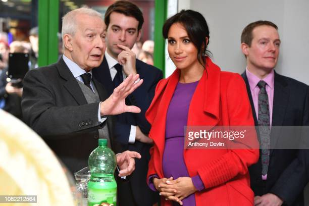 The Duchess of Sussex speaks with Frank Field MP as the Duke and Duchess of Sussex officially open Number 7 a Feeding Birkenhead citizens supermarket...