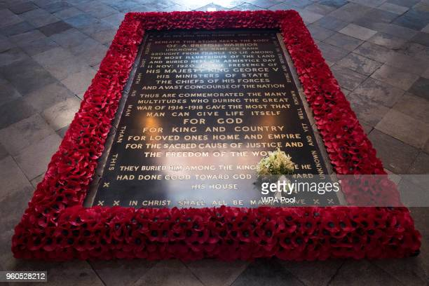 The Duchess of Sussex's wedding bouquet is laid on the grave of the Unknown Warrior in the west nave of Westminster Abbey on May 20 2018 in London...