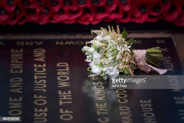 The Duchess of Sussex's wedding bouquet is laid on the grave of the Unknown Warrior in the west nave of Westminster Abbey on May 20, 2018 in London,...