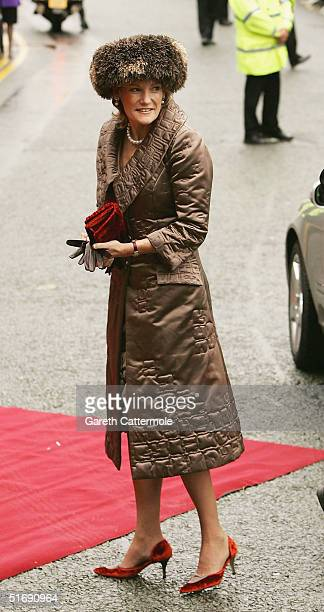 The Duchess of Westminster arrives at Chester Cathedral for the wedding of Ed Van Cutsem and Lady Tamara Grosvenor on November 6 2004 in Chester...