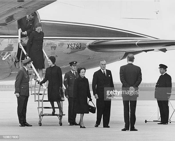 The Duchess of Windsor is met at London Airport by Earl Mountbatten 2nd June 1972 She has flown from Paris in an Andover of the Queen's Flight to...