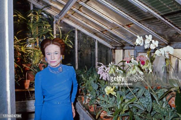 The Duchess of Windsor, Wallis Simpson, at her greenhouse in Bois de Boulogne near Paris, France 1974.
