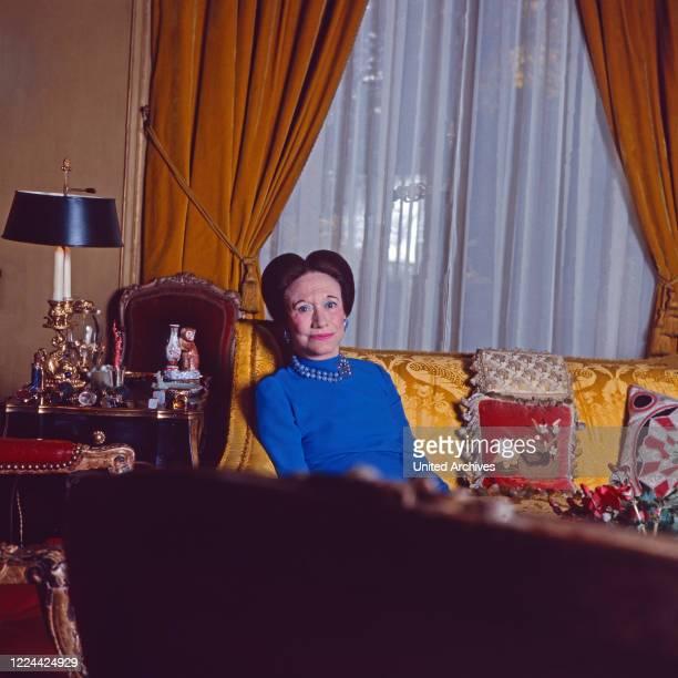 The Duchess of Windsor, Wallis Simpson, at her home in Bois de Boulogne near Paris, France 1974.