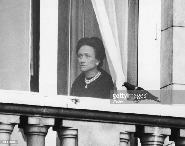 The Duchess of Windsor watches the start of the Trooping the Colour ceremony from a first floor window of Buckingham Palace 3rd June 1972 A one...