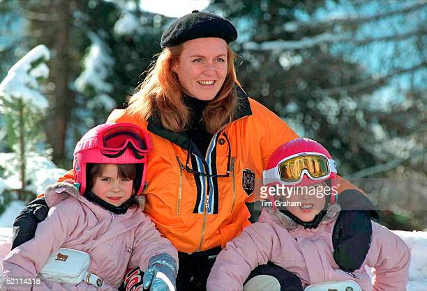 The Duchess Of York And Daughters Princess Beatrice And Princess Eugenie On Skiing Holiday In Verbier Switzerland