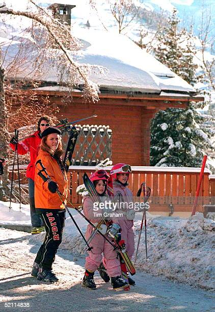 The Duchess Of York And Daughters Princess Beatrice And Princess Eugenie On Skiing Holiday In Verbier, Switzerland Leaving The Chalet Owned By Paddy...