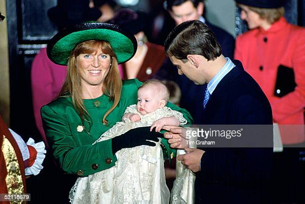 The Duchess Of York And Prince Andrew At The Chapel Royal St James's Palace For Princess Beatrice's Christening