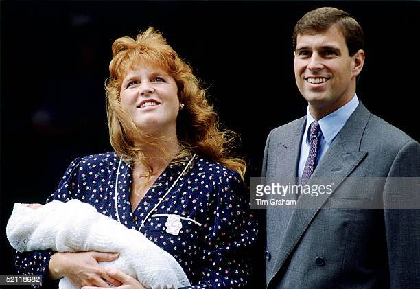 The Duchess Of York And Prince Andrew Leaving Portland Hospital With Their Daughter Princess Beatrice