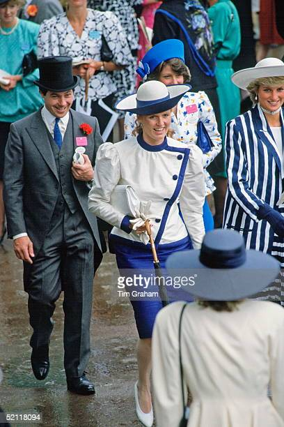 The Duchess Of York And Princess Diana Walking Together Through The Crowds At Royal Ascot Races