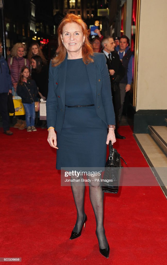 The Duchess of York arrives at the BBC event Bruce: A Celebration at the London Palladium, which will honour the life of the late entertainer Sir Bruce Forsyth.