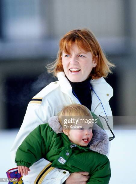The Duchess Of York Carrying Princess Eugenie During A Skiing Holiday In Klosters, Switzerland