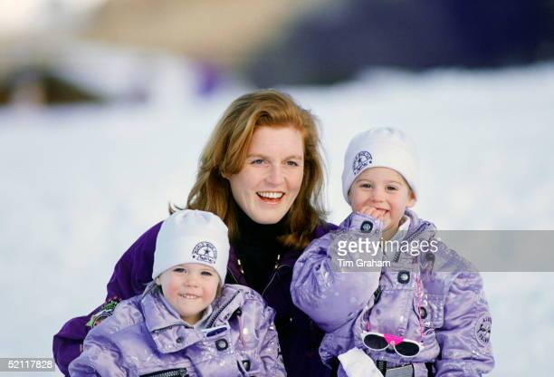 The Duchess Of York During A Skiing Holiday With Her Daughters, Princess Beatrice And Princess Eugenie In Klosters, Switzerland