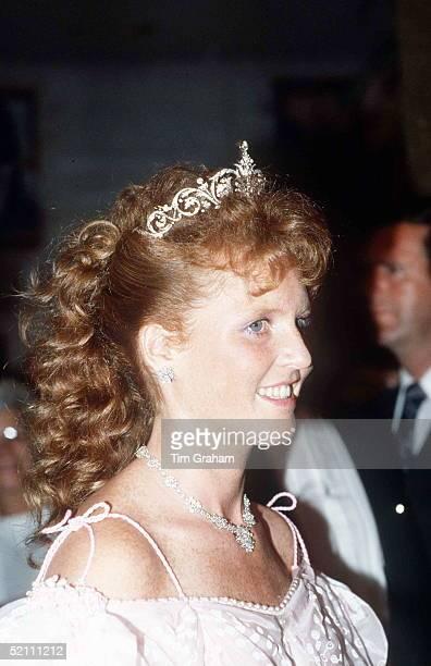 The Duchess Of York Formerly Sarah Ferguson Attending A Banquet In Edmonton Canada Her Ballgown Designed By Zandra Rhodes
