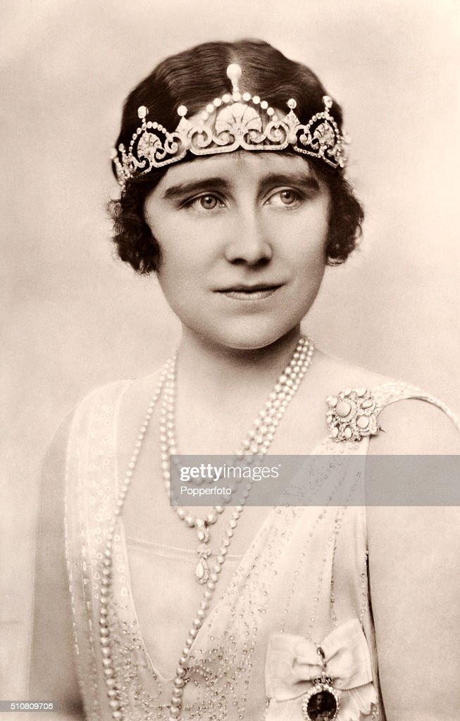 The Duchess of York, later Queen Elizabeth The Queen Mother, in tiara and pearls, circa 1925.