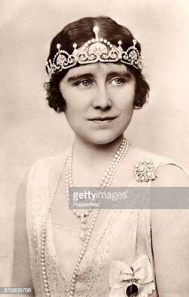 The Duchess of York later Queen Elizabeth The Queen Mother in tiara and pearls circa 1925