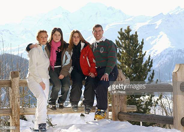 The Duchess of York Princess Eugenie Princess Beatrice and the Duke of York attend a photocall on February 18 2003 in Verbier Switzerland Prince...