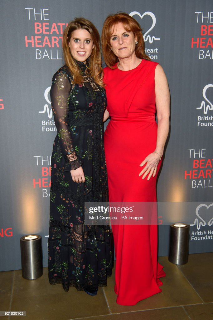 The Duchess of York, Sarah Ferguson and her daughter Princess Beatrice attending the British Heart FoundationÕs Beating Hearts Ball, at The Guildhall in London, which raises funds for the BHF's life-saving research.