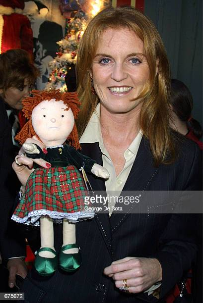 The Duchess of York Sarah Ferguson attends an event to unveil the original Santa suit worn by Edmund Gwenn in the original film Miracle on 34th...