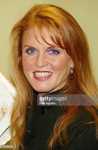 """The Duchess Of York, Sarah Ferguson promotes her new children's book """" Little Red"""" at Barnes & Noble September 23, 2003 in New York City."""