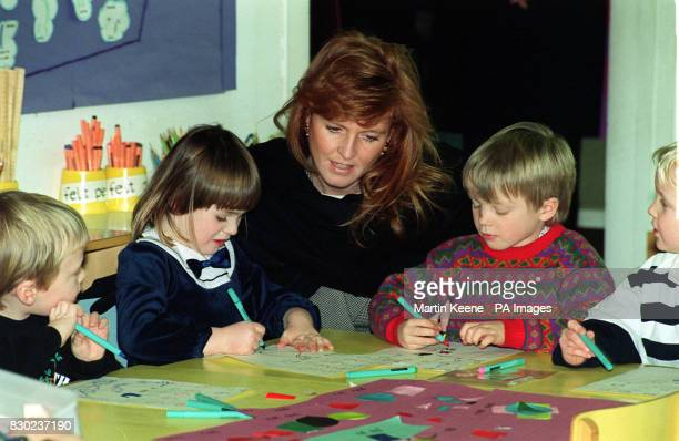 The Duchess of York, Sarah Ferguson, who visited RAF Coltishall, the home of some of the Jaguar planes in the Gulf, also visited a local school where...