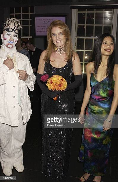 The Duchess of York Sarah Ferguson with violinist Vanessa Mae at a 'Tommy's Charity' party on 24th November 2002 The party was organised by McLaren...