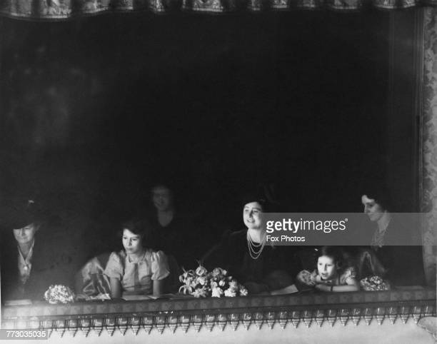 The Duchess of York with her daughters Princess Elizabeth and Princess Margaret in the royal box at the Royal Opera House Covent Garden London circa...