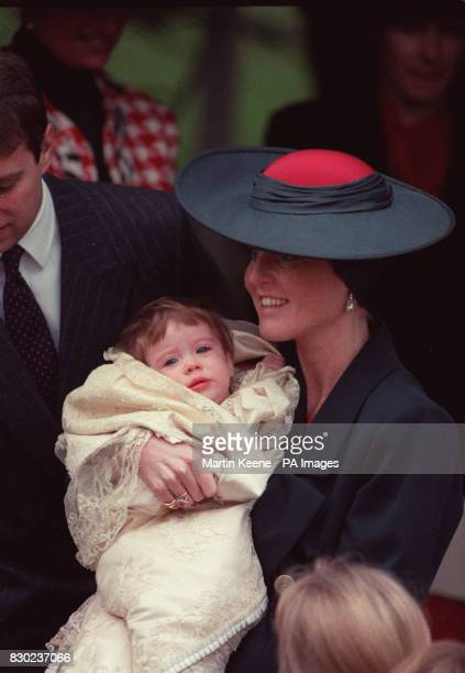 The Duchess of York with her second dayghter Princess Eugenie Victoria Helena after her christening at Snadringham Church.