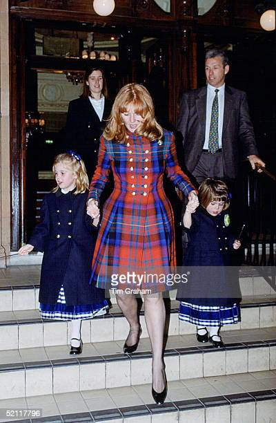 The Duchess Of York With Princess Beatrice And Princess Eugenie At The Richmond Theatre To See A Production Of 'peter Pan'