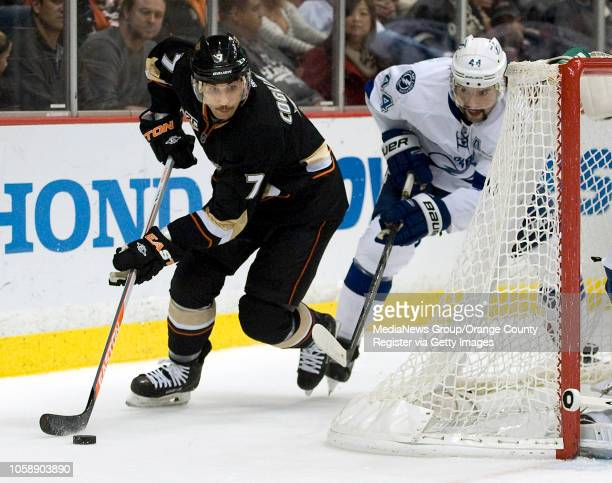 The Ducks' Andrew Cogliano gets past the Tampa Bay Lightning's Nate Thompson at Honda Center in Anaheim on November 22 2013