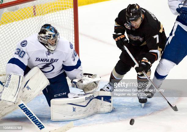 The Ducks' Andrew Cogliano tries to get a shot past the Tampa Bay Lightning goalie Ben Bishop at Honda Center in Anaheim on November 22 2013