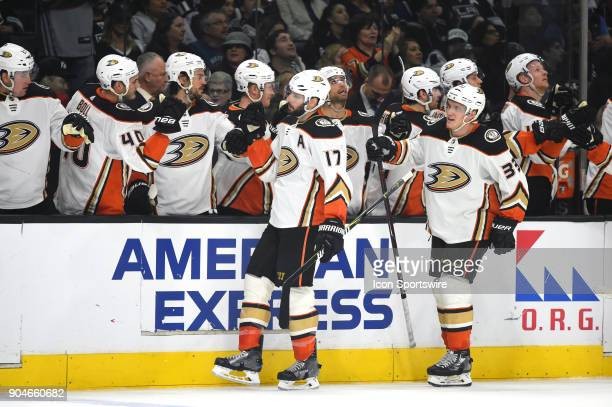 The Ducks celebrate scoring their second goal of the game in the first period during an NHL game between the Anaheim Ducks and the Los Angeles Kings...