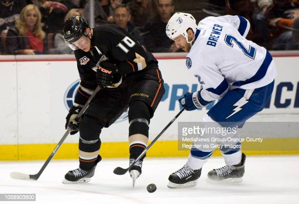 The Ducks' Corey Perry battles for the puck with the Tampa Bay Lightning's Eric Brewer at Honda Center in Anaheim on November 22 2013