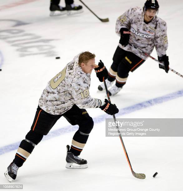 The Ducks' Corey Perry warms up in a camouflage jersey as part of Military Appreciation Night at Honda Center in Anaheim on November 10 2013